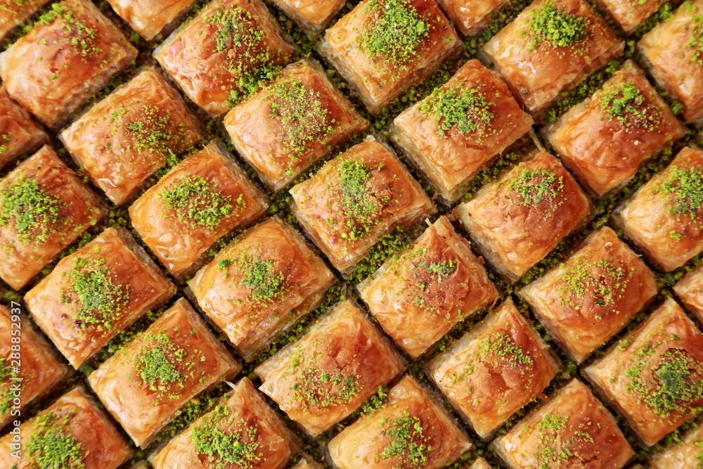Fototapety, obrazy: Turkish Dessert Baklava with concept background