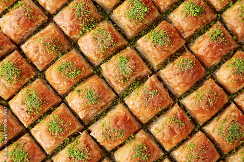 Turkish Dessert Baklava with concept background Wallpaper Mural
