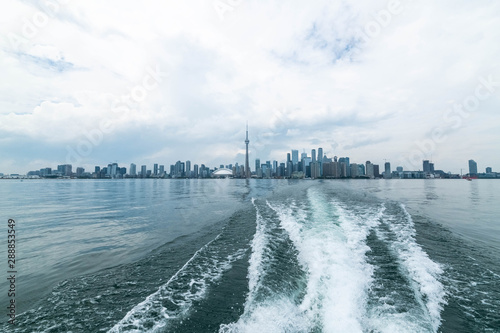 Waterfront view of Toronto City Skyscrapers along with CN Towerand Rogers Centre Canvas Print