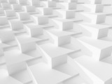 Fototapeta Przestrzenne - Parametric structure of white boxes. 3d