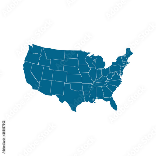 USA map icon. Usa map vector icon. United States of America ...