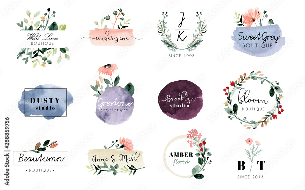 Fototapeta premade logo with floral and brush stroke watercolor collection