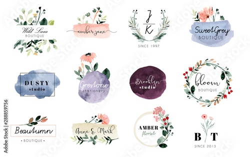 premade logo with floral and brush stroke watercolor collection Wallpaper Mural