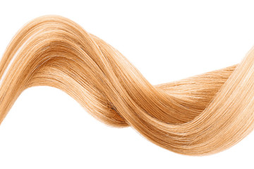 Blond shiny hair wave, isolated over white