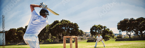 Photo Player batting while playing cricket on field