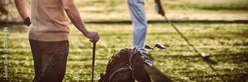 Mature golfer men standing on field