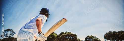 Fotografiet  Side view of cricket player batting while playing on field