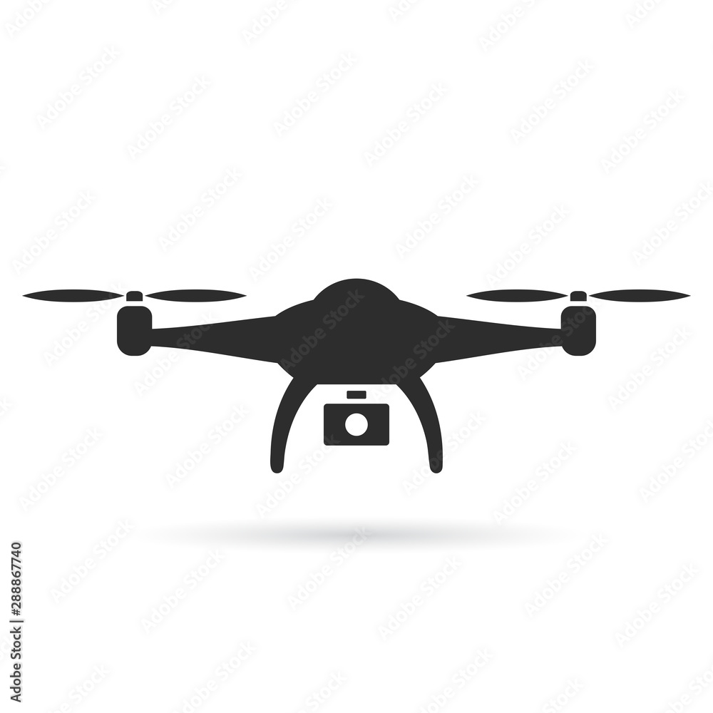 Fototapety, obrazy: Drone vector icon on white background