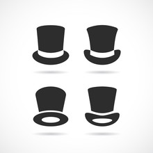 Tall Black Hat Vector Icon Set...