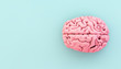 canvas print picture - minimal pink brain on blue background