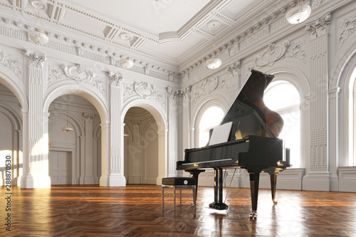 black grand piano in white classic room 3d render Fototapete