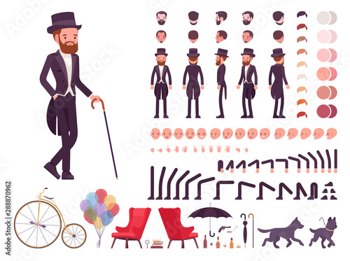 Gentleman in black tuxedo jacket construction set, fashionable dandy man in classic suit and cylinder hat kit, creation elements to build your own design Canvas Print