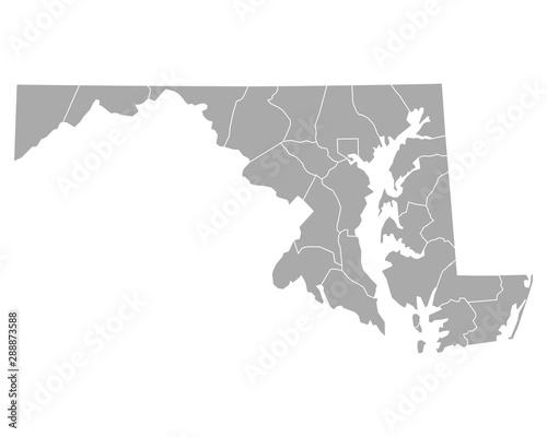 Obraz Karte von Maryland - fototapety do salonu