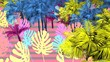 Seamless animation of tropical plants. Funny summer background cartoon hand drawn style psychedelic backdrop