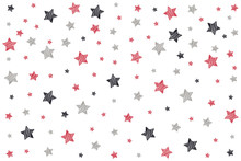 Drawn Stars Pattern On Isolated Whitebackground.