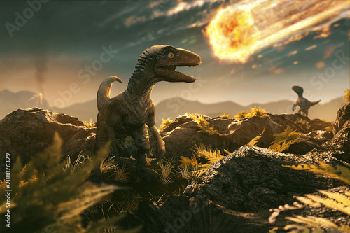Velociraptor sees incoming asteroid Wallpaper Mural