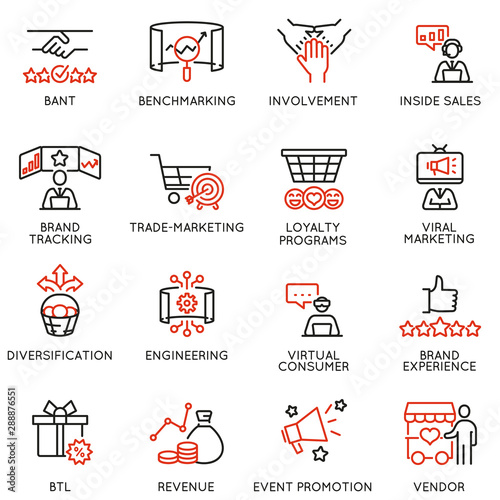 Vector set of linear icons related to business management process, advertising promotion and marketing Canvas Print