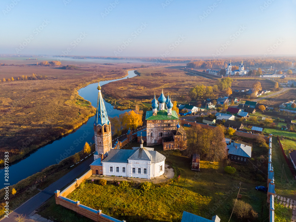 Fototapety, obrazy: Autumn morning in the village of Dunilovo. Shooting from the drone