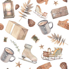 Christmas Seamless Pattern. Watercolor Retro Lantern, Hot Drink Cup, Gift Box, Skating, Mittens, Pinecone, Plants. Repeating Texture With Winter Objects