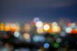 Abstract city night light blur bokeh. Vintage tone defocused background.