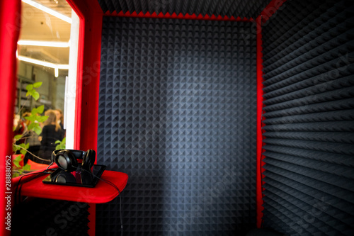 close up Sound Absorption, noise reduction texture in recorder room ,with light flare Canvas-taulu