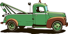 Vintage Tow Truck, Vector Illustration, Monogram, Graphic, Logo, Green Color, Isolated