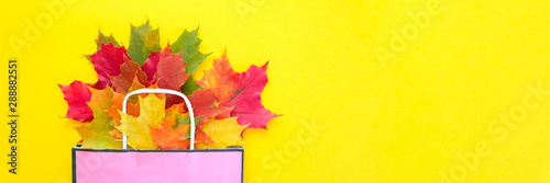 Photo Autumn sale. Paper bag with autumn maple leaves. Shopping concept