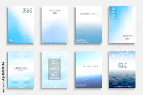 Collection of vector blue light abstract backgrounds. Colorful gradient covers - mosaic geometric design. - 288882976