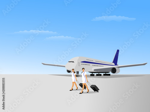 Two flight attendant women walking on an airstrip with a plane and a blue sky in Wallpaper Mural