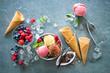 Leinwandbild Motiv Various varieties of ice cream in bowl