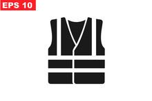 High Visibility Vest, Reflective Vest Icon Vector Illustration