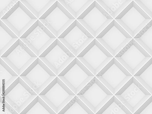 Recess Fitting Pattern 3d rendering. seamless modern white gray square grid pattern wall design texture background.