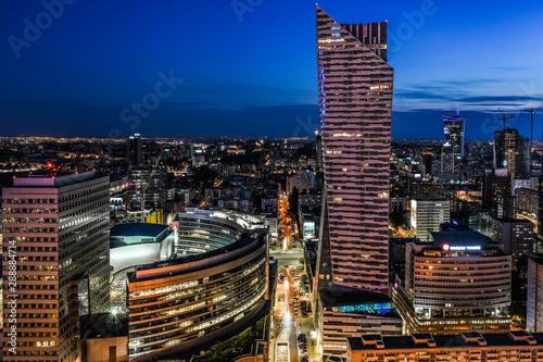 Fototapety, obrazy: Warszawskie biurowce nocą