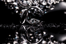 Wedding Rings With Diamonds On Black Background