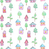Fototapeta Dinusie - Pattern of bright houses and trees for a childish design, watercolor, sketch style