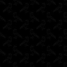 Vector Black Crows Ravens Birds On Black Background Seamless Repeat Pattern