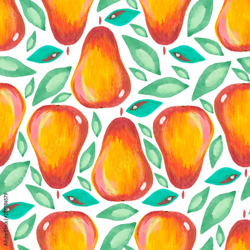 Fotomural Illustration hand-painted acrylic gouache Seamless pattern Exotic fruit pear leaf on white background