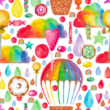 Illustration Of Hand Painted Watercolor Decorative Rainbow Clouds Balloon Basket Element For Fabric Design Poster Paper Compositions