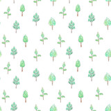 Fototapeta Dinusie - Watercolor pattern with trees for kids design