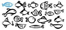 Set Of Cute Cartoon Fish Hand Painted With Ink Brush Stroke