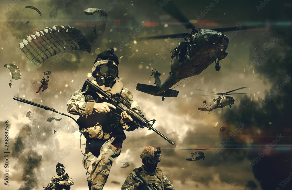 Fototapeta Military forces & helicopters between smoke and dust at battlefield.