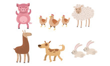Cute Farm Animals Set, Pig, Sh...