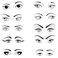 Set Of Logos Of Eyelashes. Col...