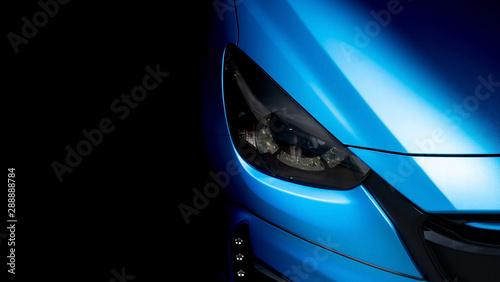 Fototapeta Wrapping car detailing film blue .Metallic color vinyl protection damage when driving, Automobile transportation service obraz