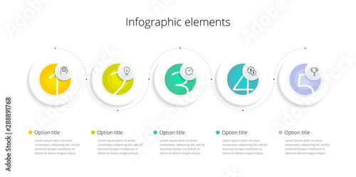 Business process chart infographics with 5 step options Wallpaper Mural