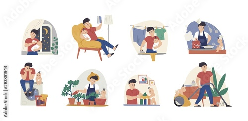 Obraz Man at maternity leave flat vector illustrations set. Single father with infant cartoon characters pack. Fatherhood chores, babysitting, housekeeping. Baby feeding, laundry and bedtime story reading. - fototapety do salonu