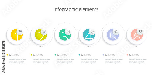 Business process chart infographics with 6 step options Canvas Print