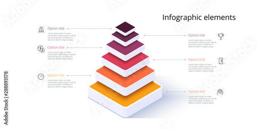 Obraz na plátně Business pyramid chart infographics with 6 steps