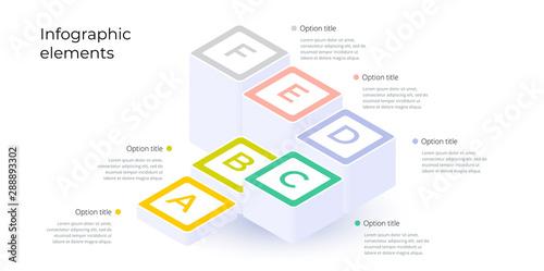 Obraz na plátně  Business process chart infographics with 6 step options
