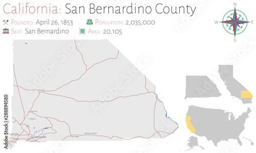 Photo Large and detailed map of San Bernardino county in California, USA